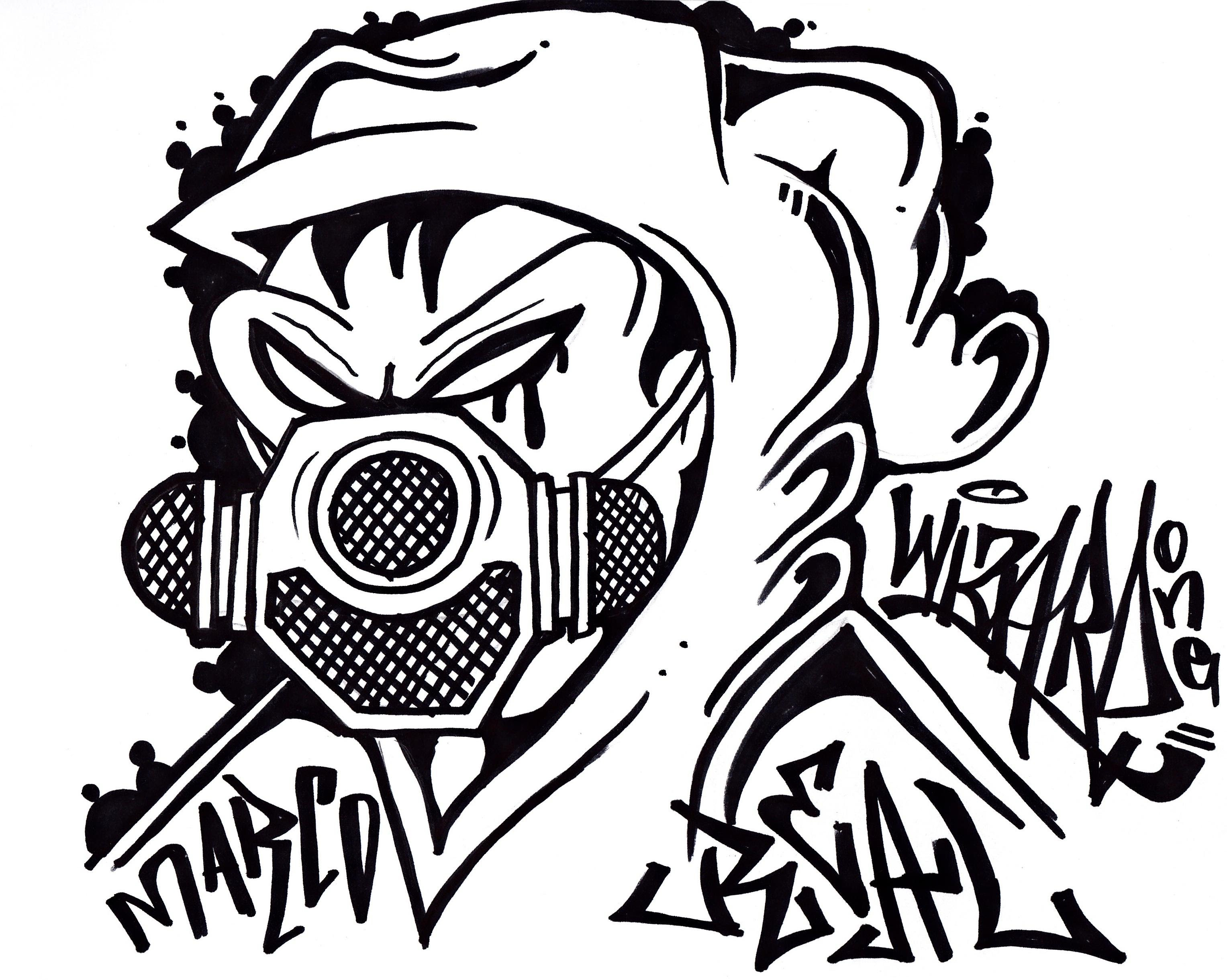 3055x2442 Graffiti Characters Gangster Skull How To Draw A Gas Mask Graffiti
