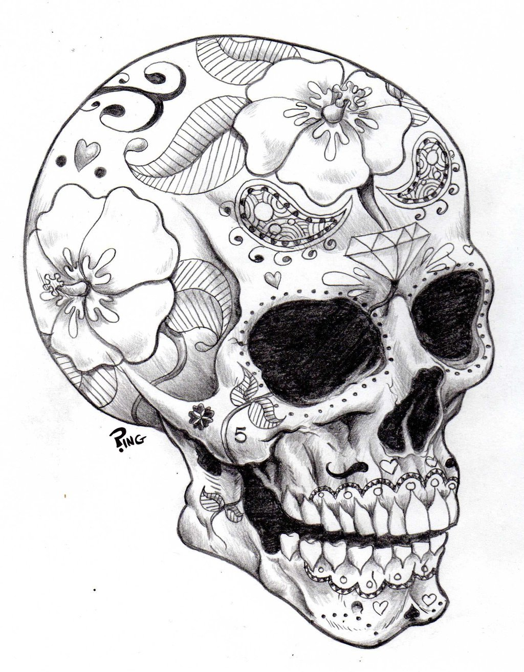 1024x1314 How Draw A Sugar Skull Rose How