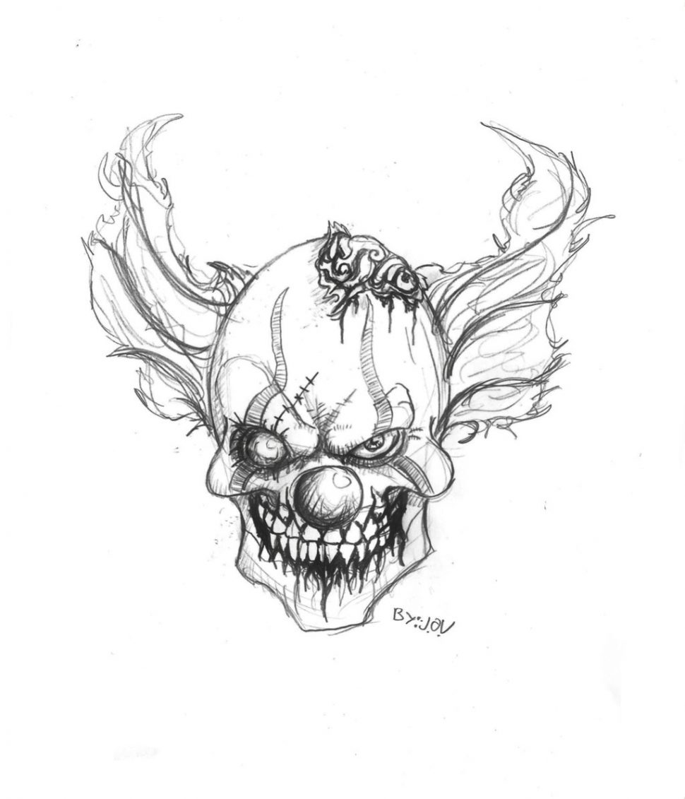 970x1131 Coloring Pages Drawings Of Clowns Evil Clown Top Sad Gangster