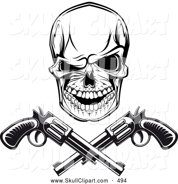 600x620 Vector Clip Art Of A Spooky Black And White Gangster Skull With