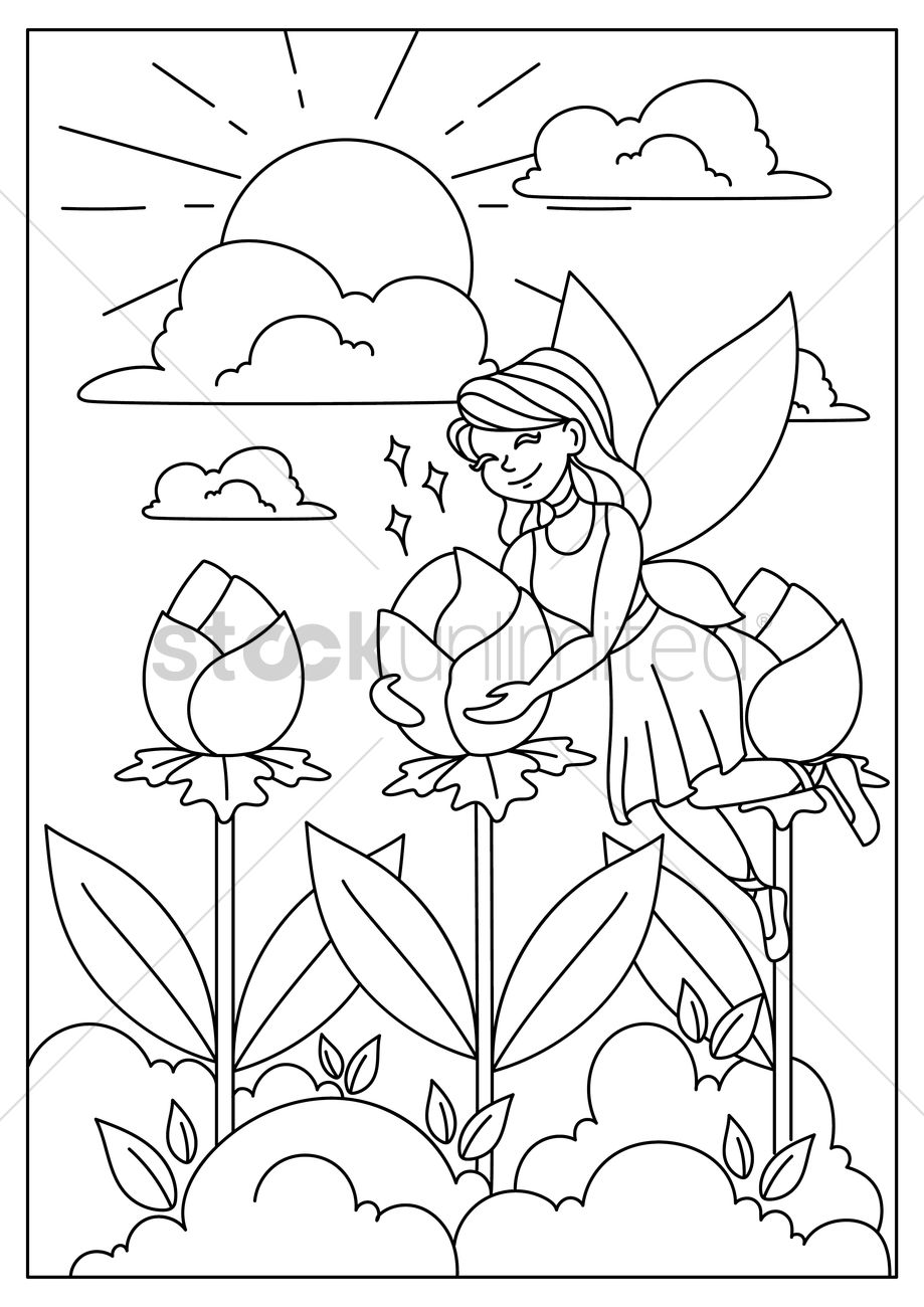 919x1300 Fairy In Flower Garden Vector Image