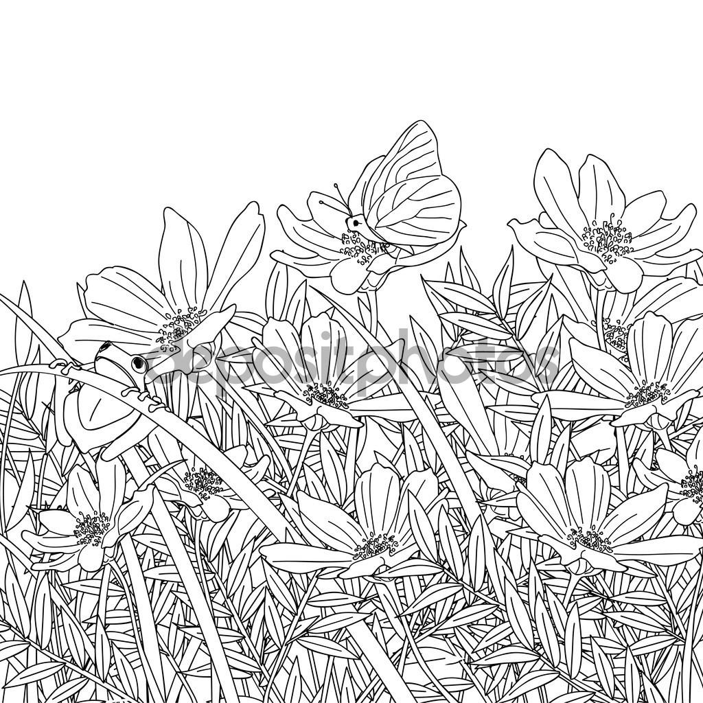 1024x1024 Flower Garden Pencil Sketch Sketch Of Flower Garden