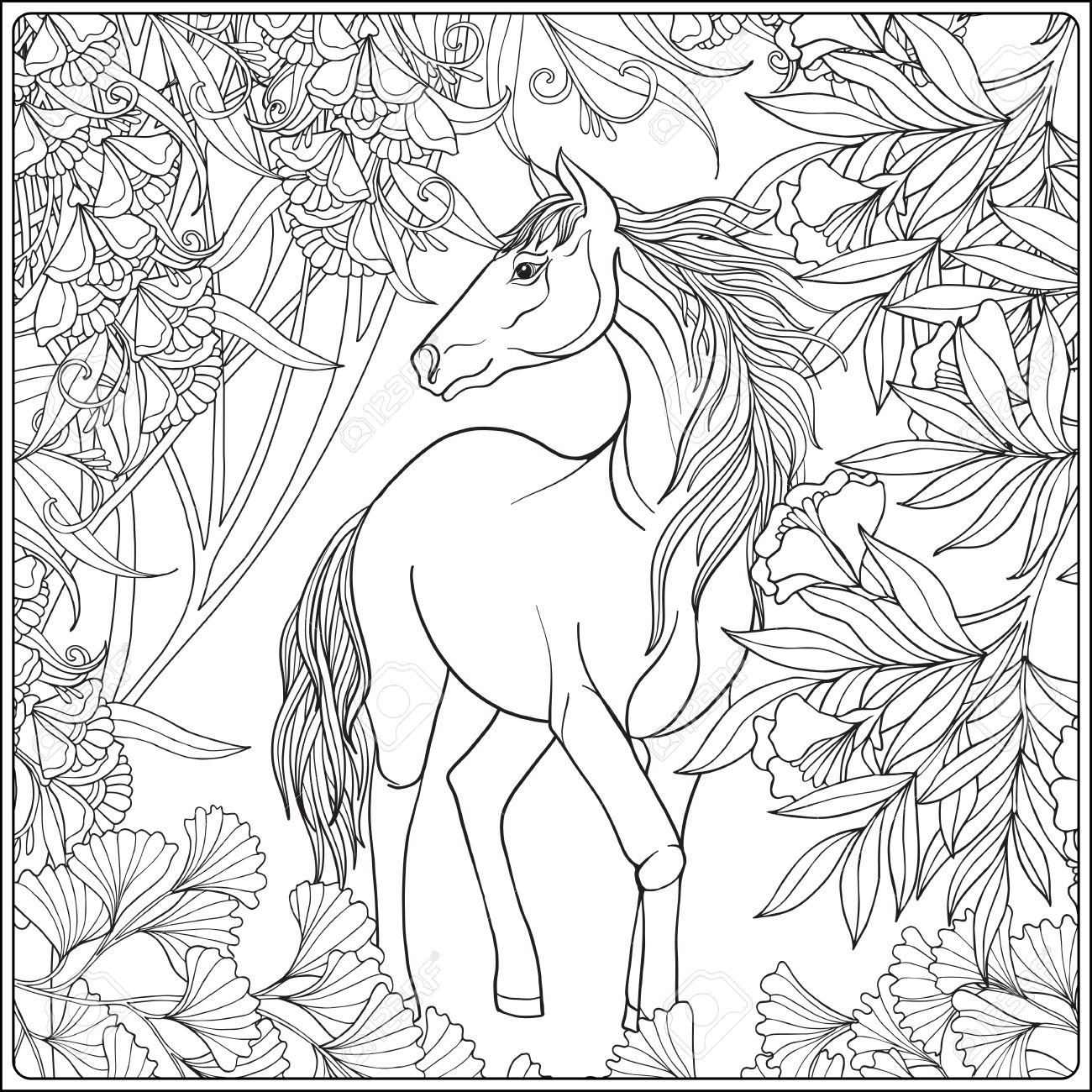 1300x1300 Horse In Garden. Illustration. Coloring Book For Adult And Older