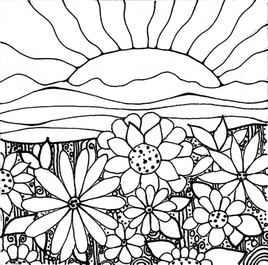 1024x1014 How To Draw A Flower Garden My Flower Garden Drawing Flower Garden