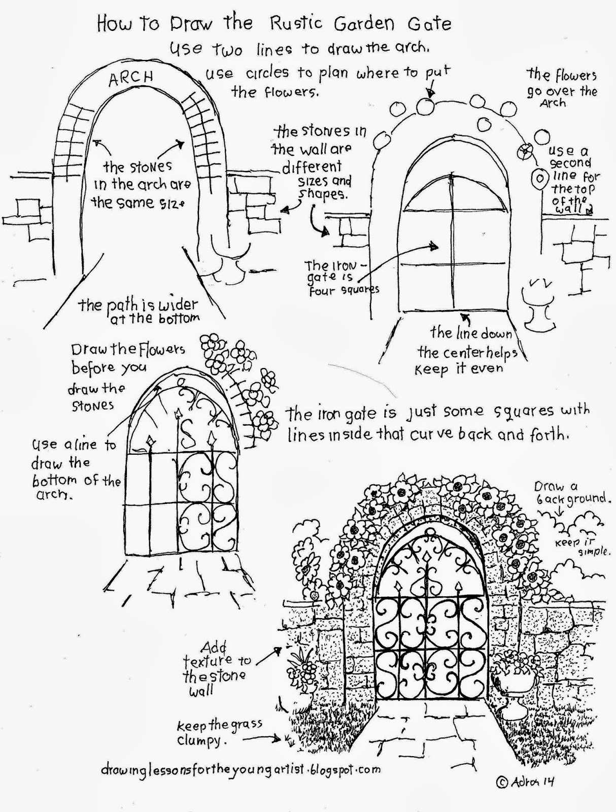 1214x1600 How To Draw The Rustic Garden Gate With A Stone Arch (How To Draw