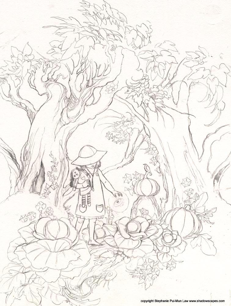 756x1000 Midnight Ramblings Garden Sketch