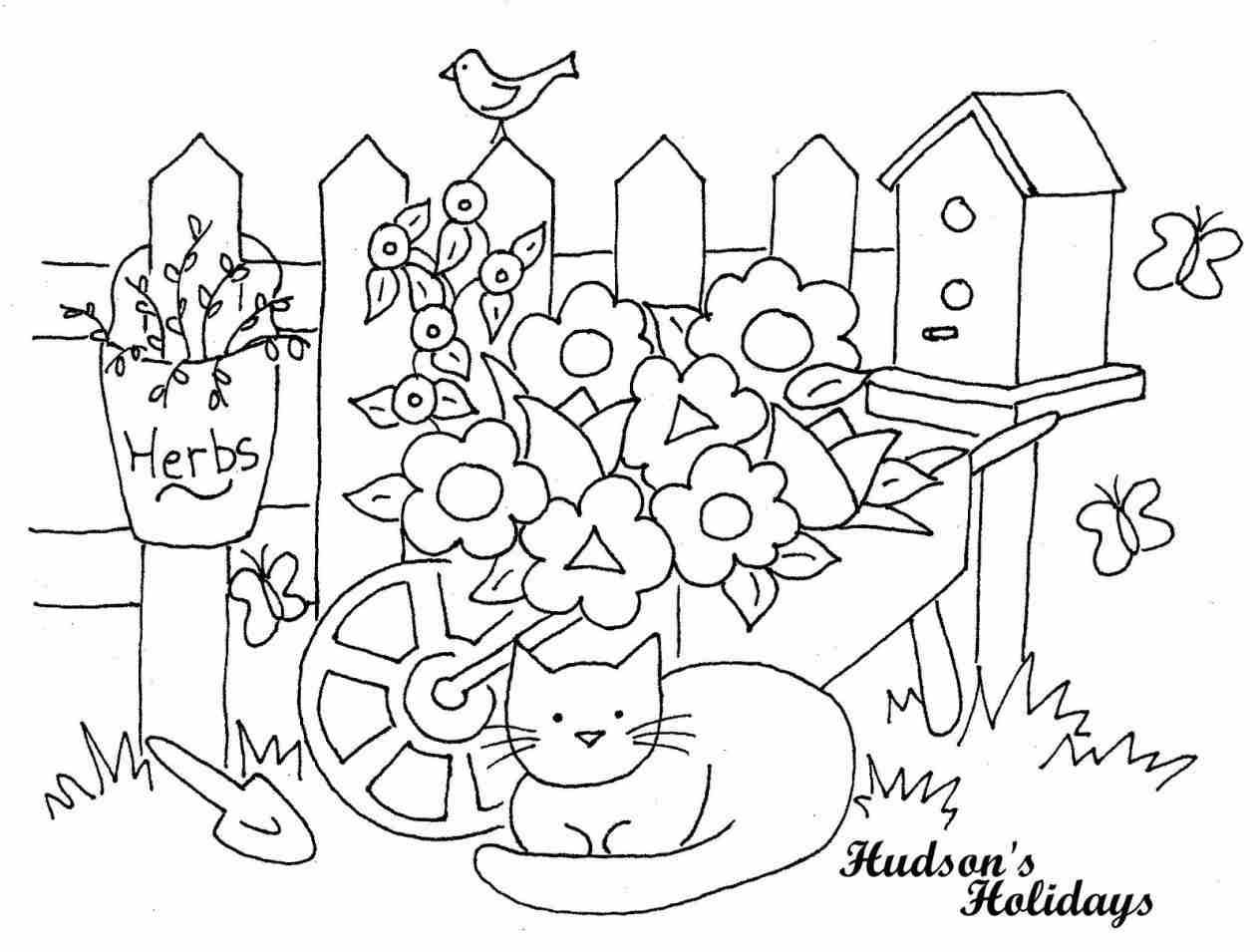 1264x955 Cartoon Free Easy Tutorial How Flower Garden Drawing For Kids