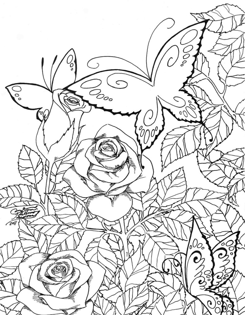 789x1012 Butterfly In The Garden Drawing Butterfly Garden Art Coloring