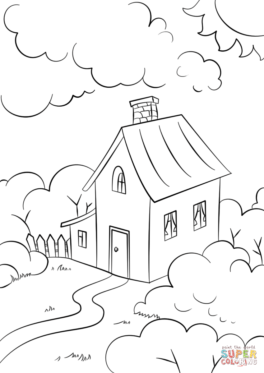 849x1200 Click The Lovely House With Garden How To Draw Drawing Modern