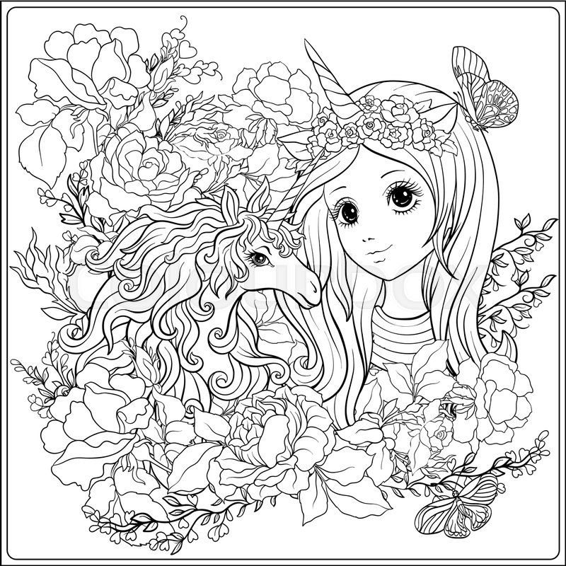 800x800 Cute Girl And Unicorn In Roses Garden. Outline Drawing Coloring