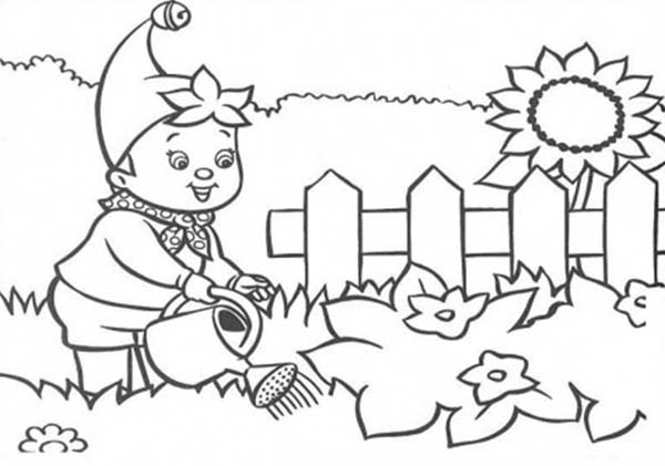 600x421 Stunning Noddy Water The Flower Garden Colouring Page Happy