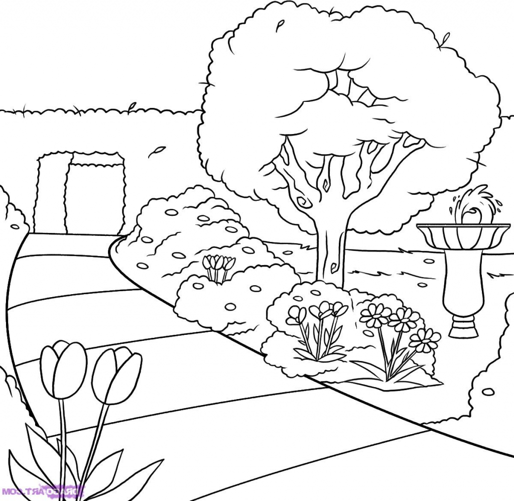 1024x998 Garden Drawing For Kids