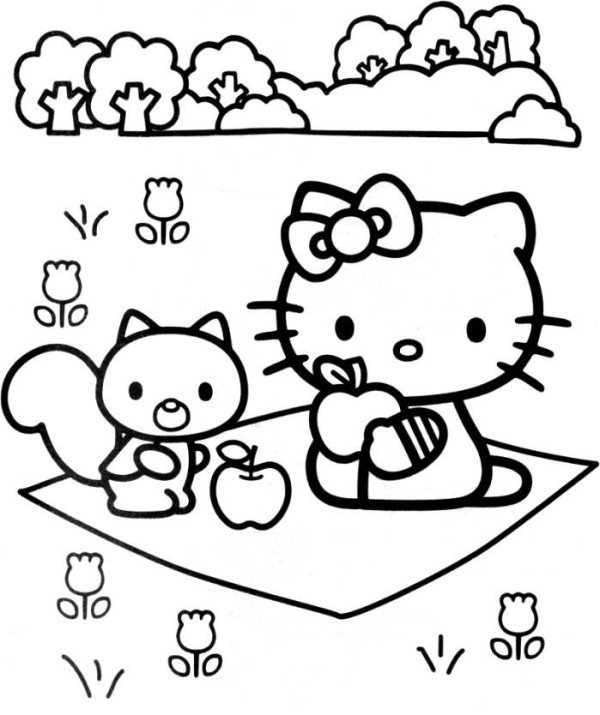 600x715 Hello Kitty And Larry On The Garden Coloring Page