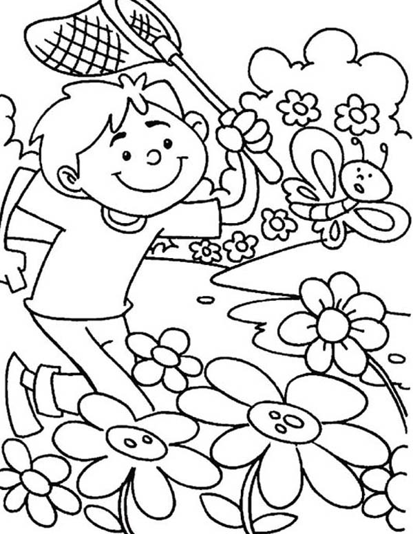 600x776 Kid Chasing Butterfly On Springtime Coloring Page Barangan Untuk
