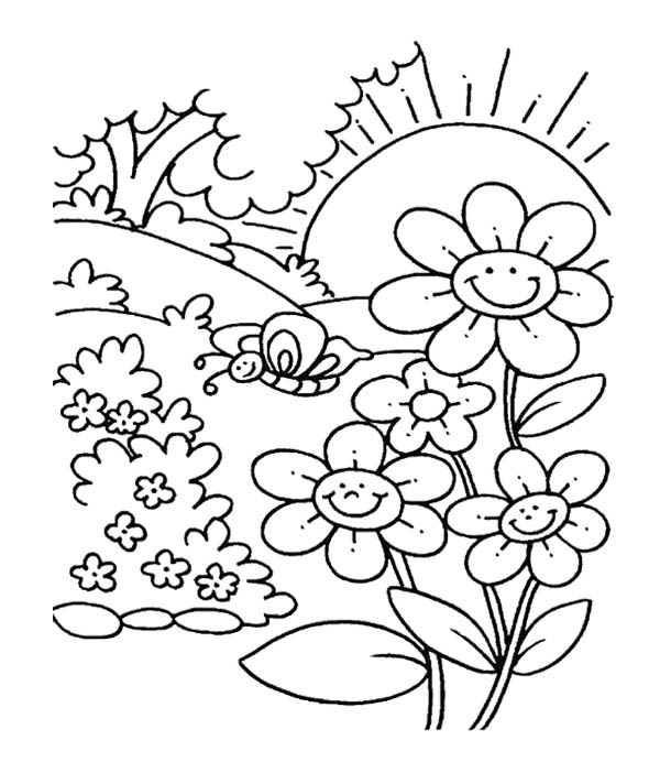 600x702 Spring Flower In Garden Coloring Pages For Kids