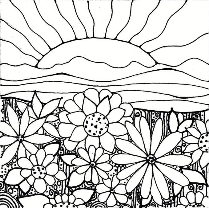 698x692 great flower garden coloring page 63 for your free coloring kids - Free Coloring For Kids