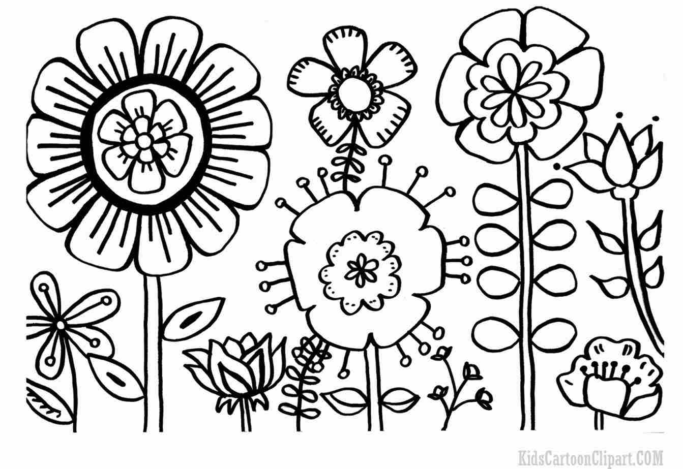 1343x923 Tutorial Black And White Of Coloring Page Children Black Flower