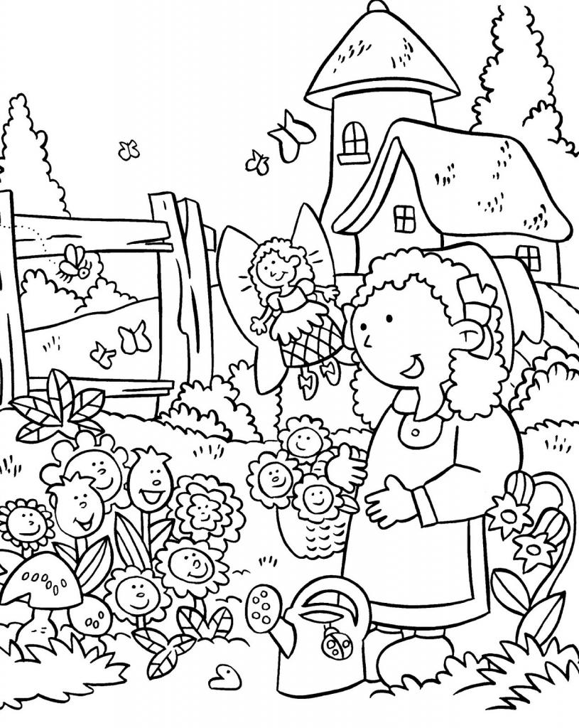 815x1024 Drawing Garden Flowers For Kids Flower Garden Drawing Flower