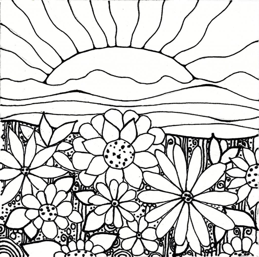 1024x1014 Drawing Of A Flower Garden