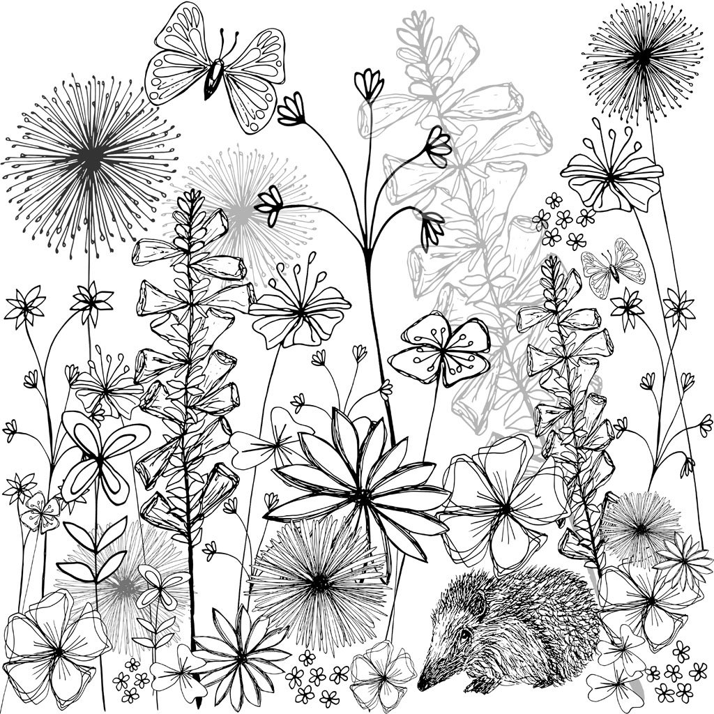 1024x1024 English Country Garden Black Amp White Print (Unframed) Joey Anna