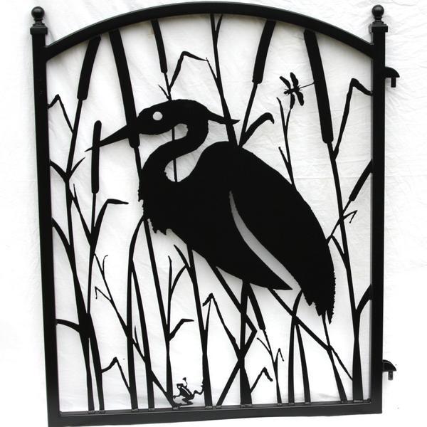 600x600 Garden Fence Gate Heron Metal Art Ornamental Iron Modern Iron Works