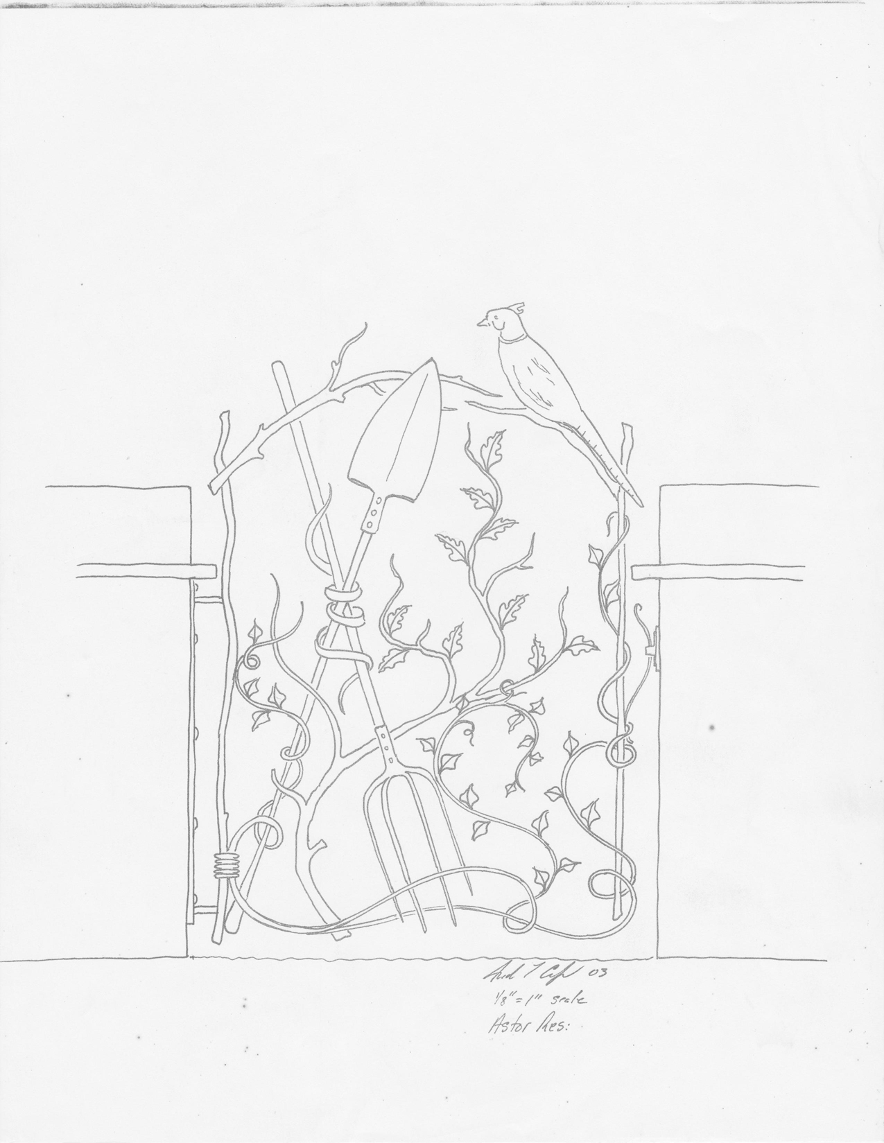 1275x1649 Sketch For The Astor Gate, Which Now Lives Happily In England