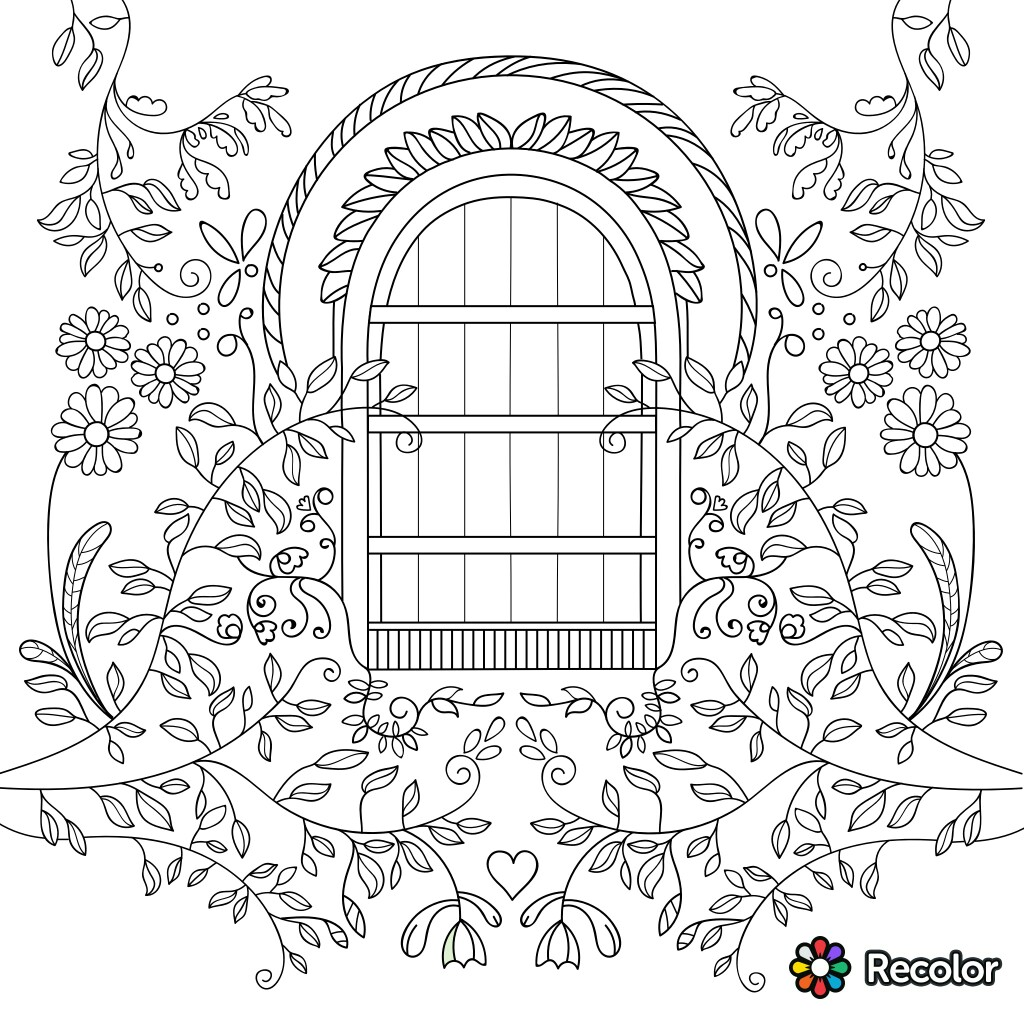 1024x1024 Garden Gate Coloring Page For Adults Garden Coloring Pages