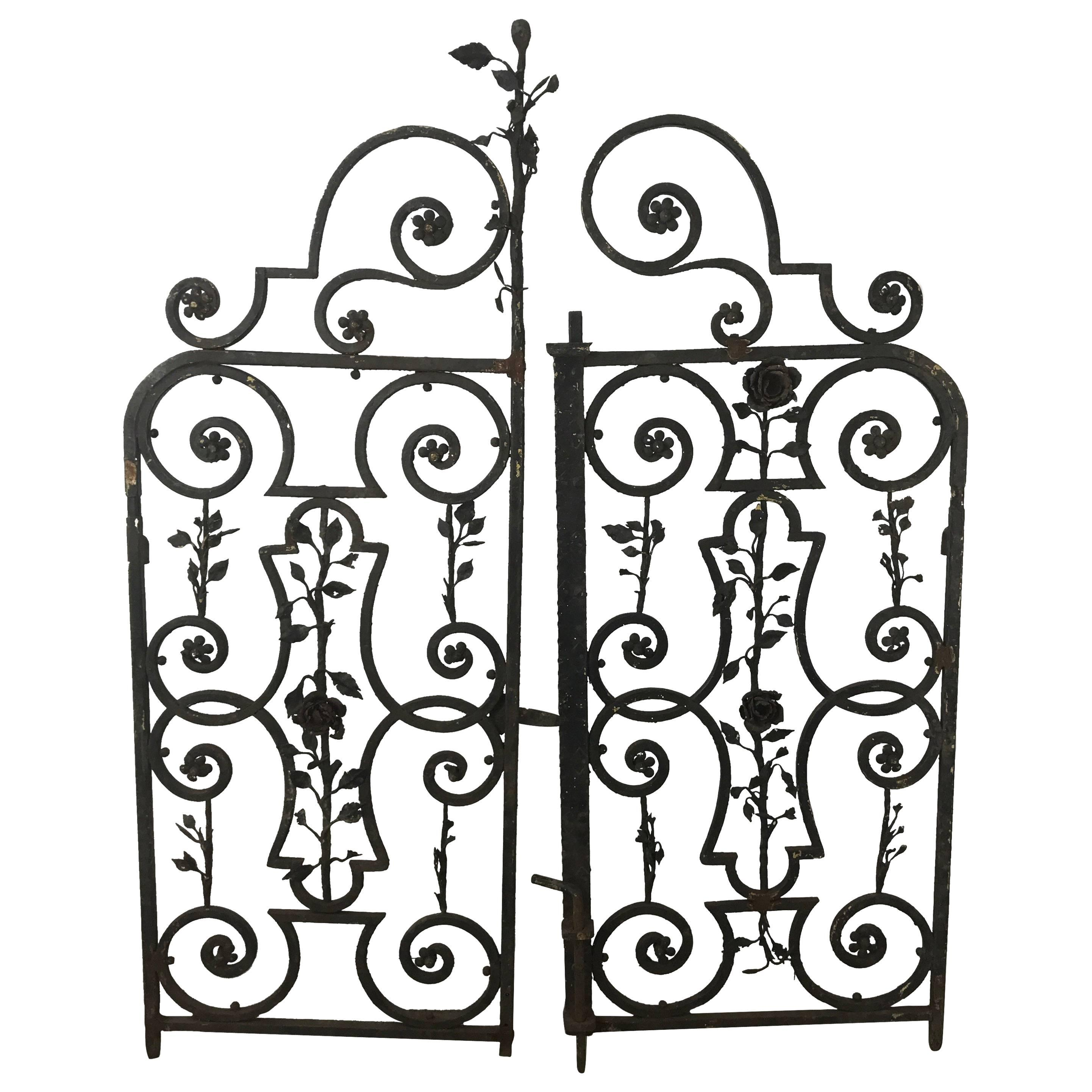 2883x2883 Decorative French Beaux Arts Wrought Iron Garden Gate For Sale