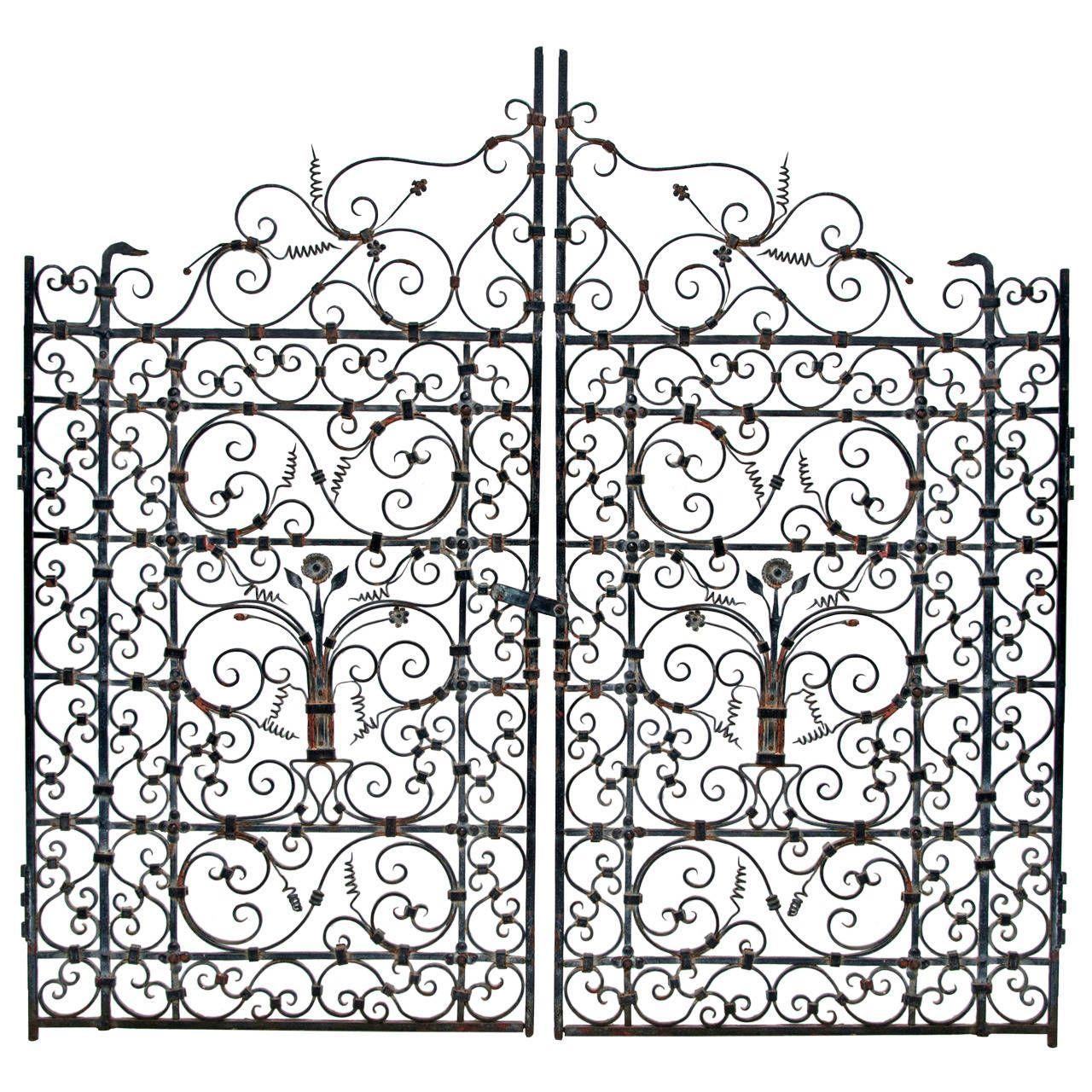 1280x1280 French Or Spanish Wrought Iron Garden Gate, Circa 1820