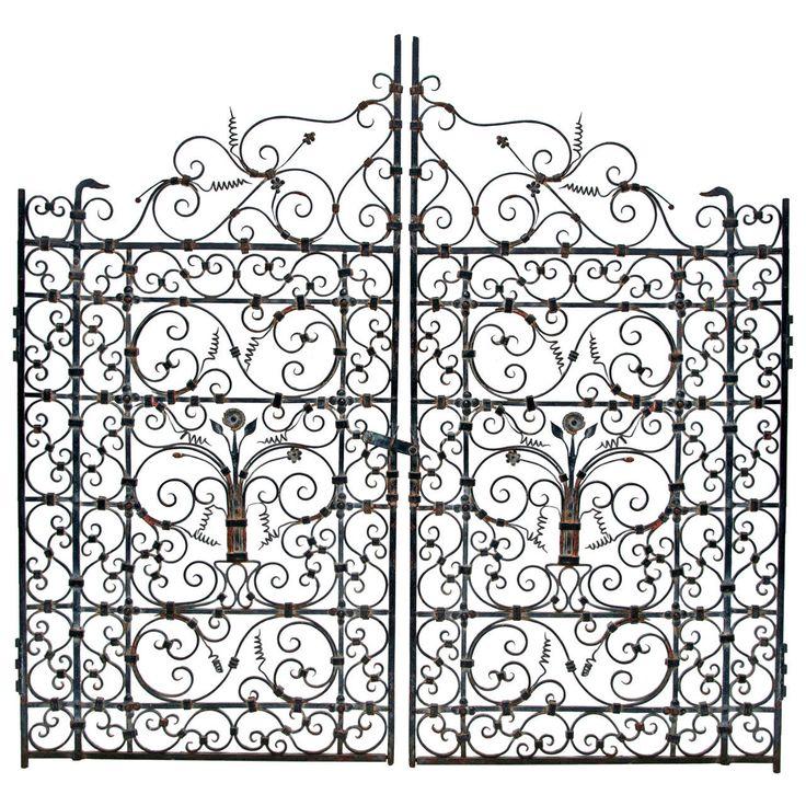 736x736 French Or Spanish Wrought Iron Garden Gate, Circa 1820 Wrought
