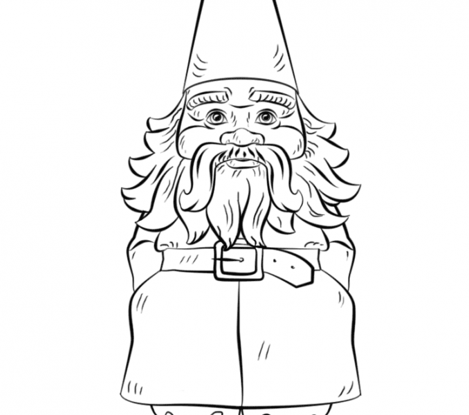 678x600 Gnome Coloring Pages. Cool Drawn Dwarf Gnome With Gnome Coloring