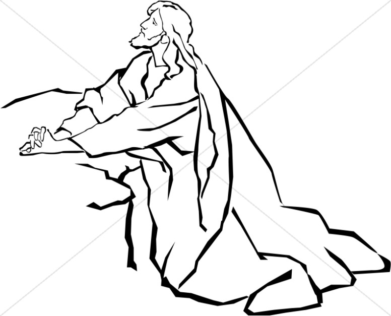 776x627 jesus in the garden of gethsemane in black and white jesus clipart - Coloring Page Garden Of Gethsemane