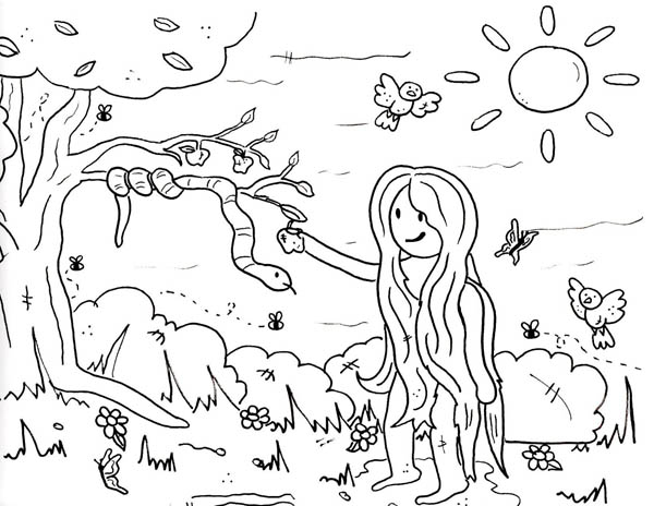 600x464 Eve Pick Forbidden Fruit In Garden Of Eden Coloring Page