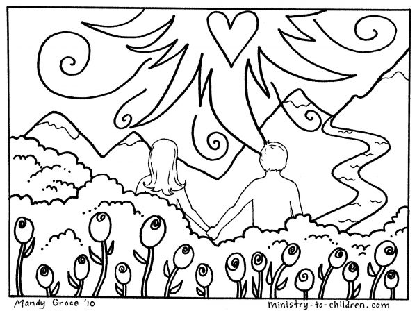 600x448 Free Coloring. Adam And Eve In The Garden Of Eden Coloring Pages
