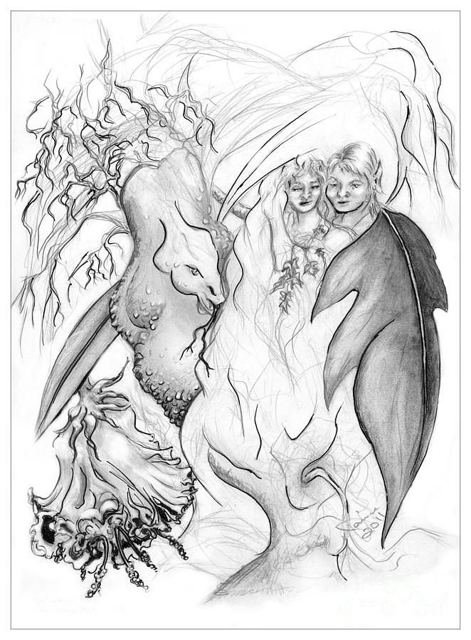 662x900 Adam And Eve In The Garden Of Eden Drawing By Janice Moore