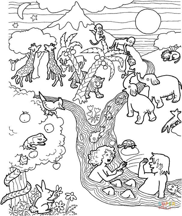 607x720 Adam And Eve In The Garden Of Eden Coloring Page Free Printable
