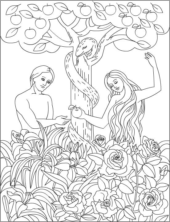 552x723 Adam And Eve In The Garden Of Eden. Bible Coloring Page Lds