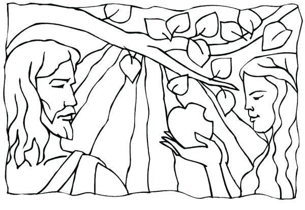 600x414 Awesome Adam And Eve In The Garden Of Eden Coloring Pages Free