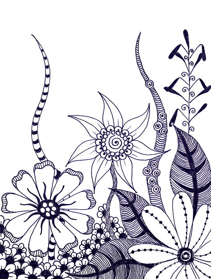 680x900 Fantasy Garden 8 Drawing By Sandy Rosen