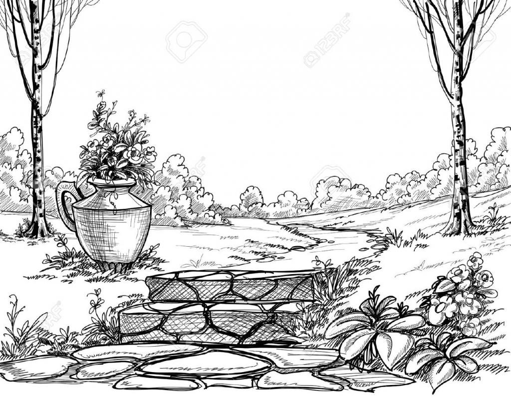 1024x797 Garden Pencil Sketch Flower Garden Pencil Sketch Sketch Of Flower