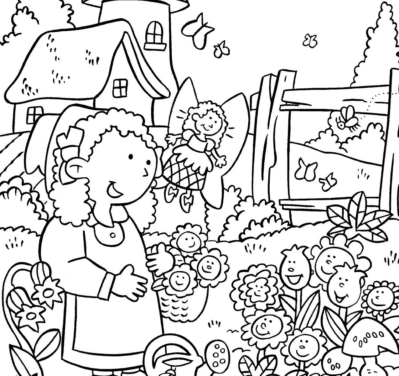 1274x1200 Girl Planting Flowers In The Garden Coloring Pages For Kids