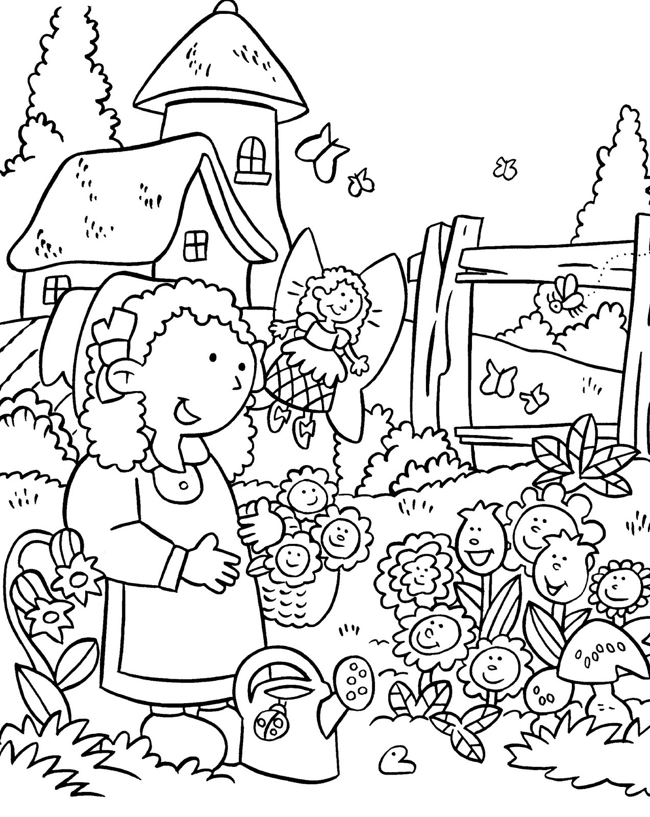 1274x1600 My Little House Anna And The Flower Garden Coloring Pages