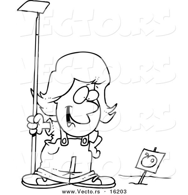 600x620 Vector Of A Cartoon Girl Standing In A Tomato Garden