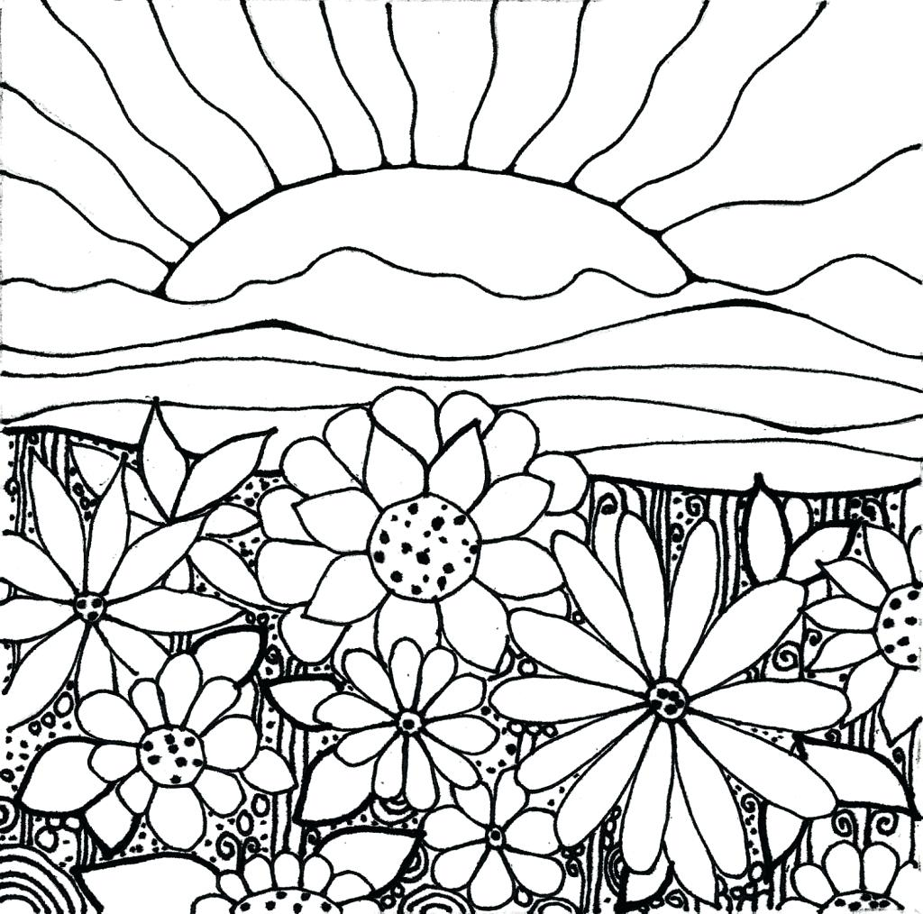 1024x1014 Coloring Flower Garden Coloring Page How To Draw With Flowers My