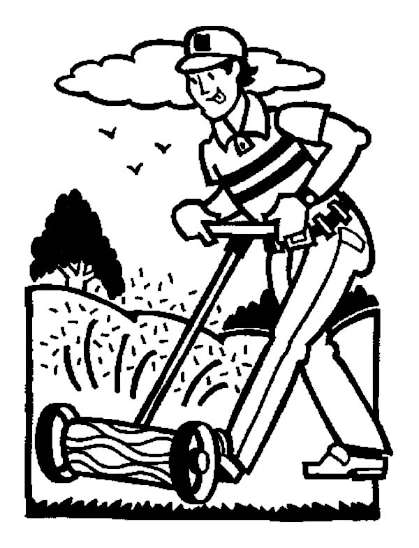 600x785 Cutting Grass In Garden Coloring Pages Color Luna