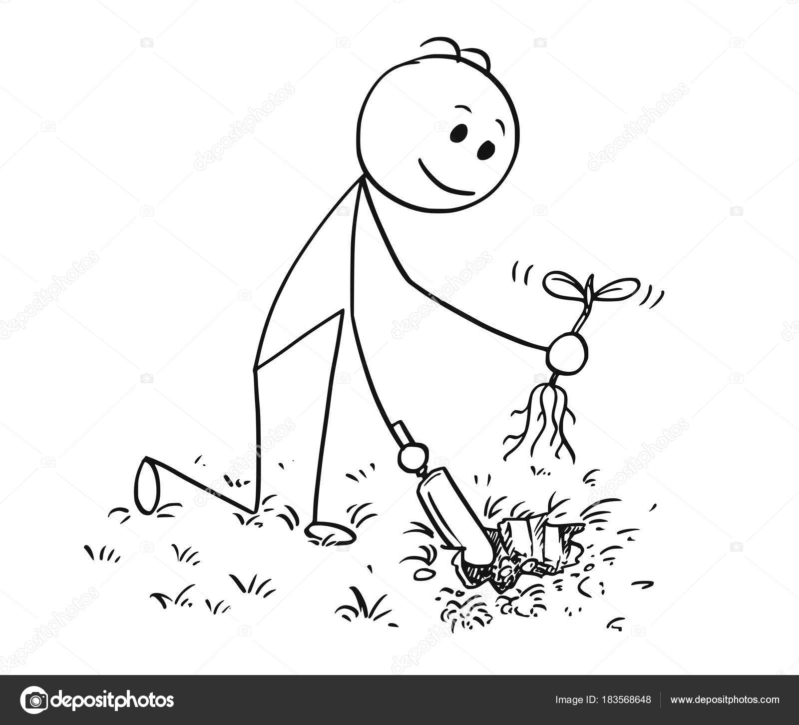 1600x1451 Cartoon Of Gardener Digging A Hole For Plant Stock Vector