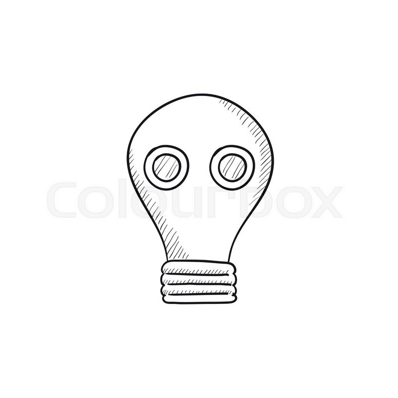 800x800 Gas Mask Vector Sketch Icon Isolated On Background. Hand Drawn Gas