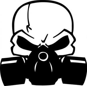 300x296 Skull Gas Mask Decal Sticker Jdm Laptop Chevy Dodge Ford 10 Colors