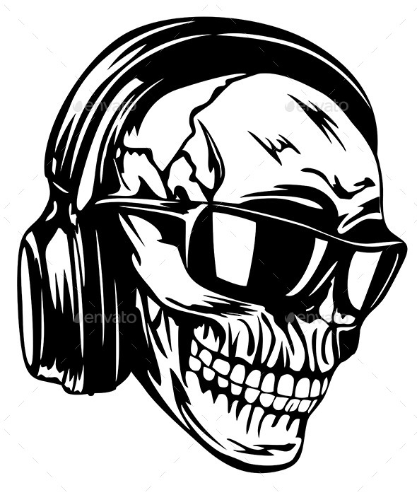 590x700 Skull In Headphones And Sunglasses Headphones, Characters And Tattoo