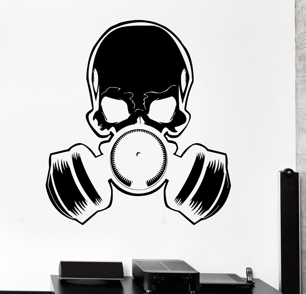 1024x984 Vinyl Wall Decal Skull Gas Mask Military Art Teen Room Stickers